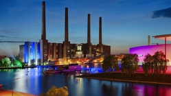 Wolfsburg, autostadt factory by night